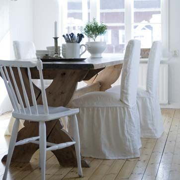 Henriksdal chair cover Loose Fit with frills Rosendal Linen Soft ...