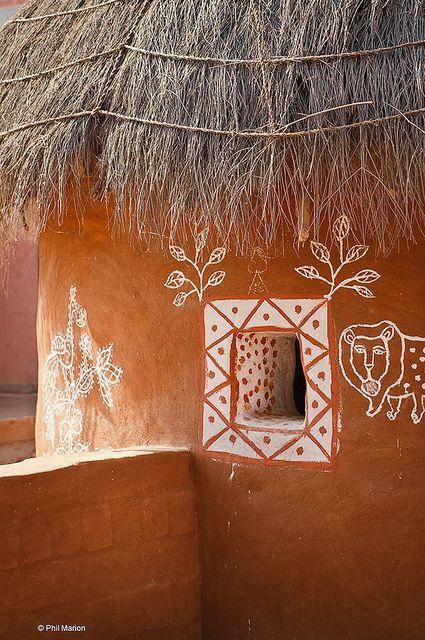 Rajasthani Village Hut Folk Art Ornamentation In 2020 Indian Colours Mud House Indian Village