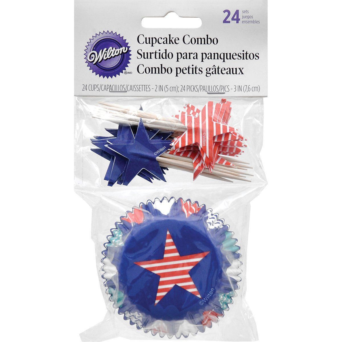Wilton Patriotic Cupcake Combo Baking Cups and Picks - Blue(24 sets) ** New and awesome product awaits you, Read it now  : Baking Tools and Accessories