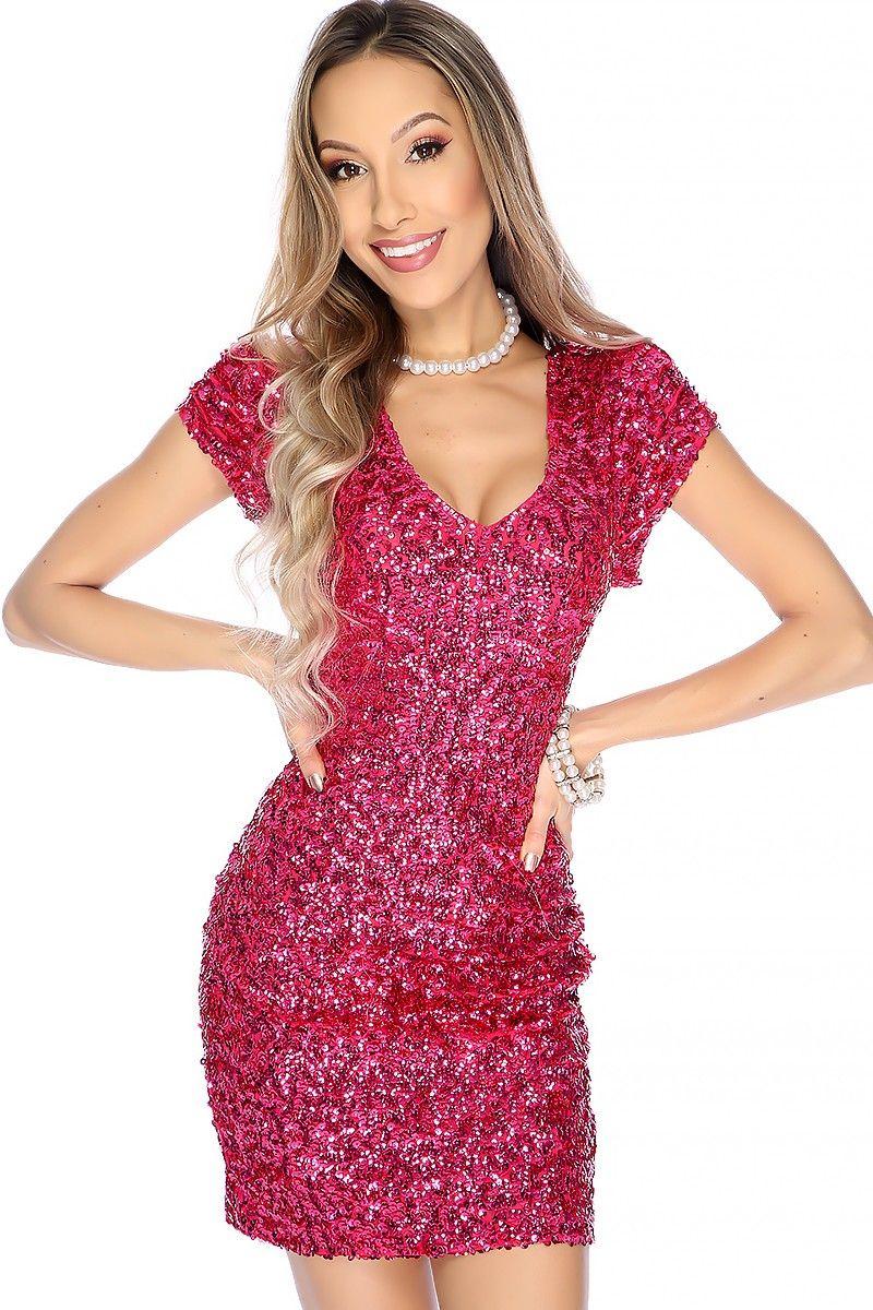 Sexy Fuchsia Sequin Short Sleeve Thigh Length Party Dress