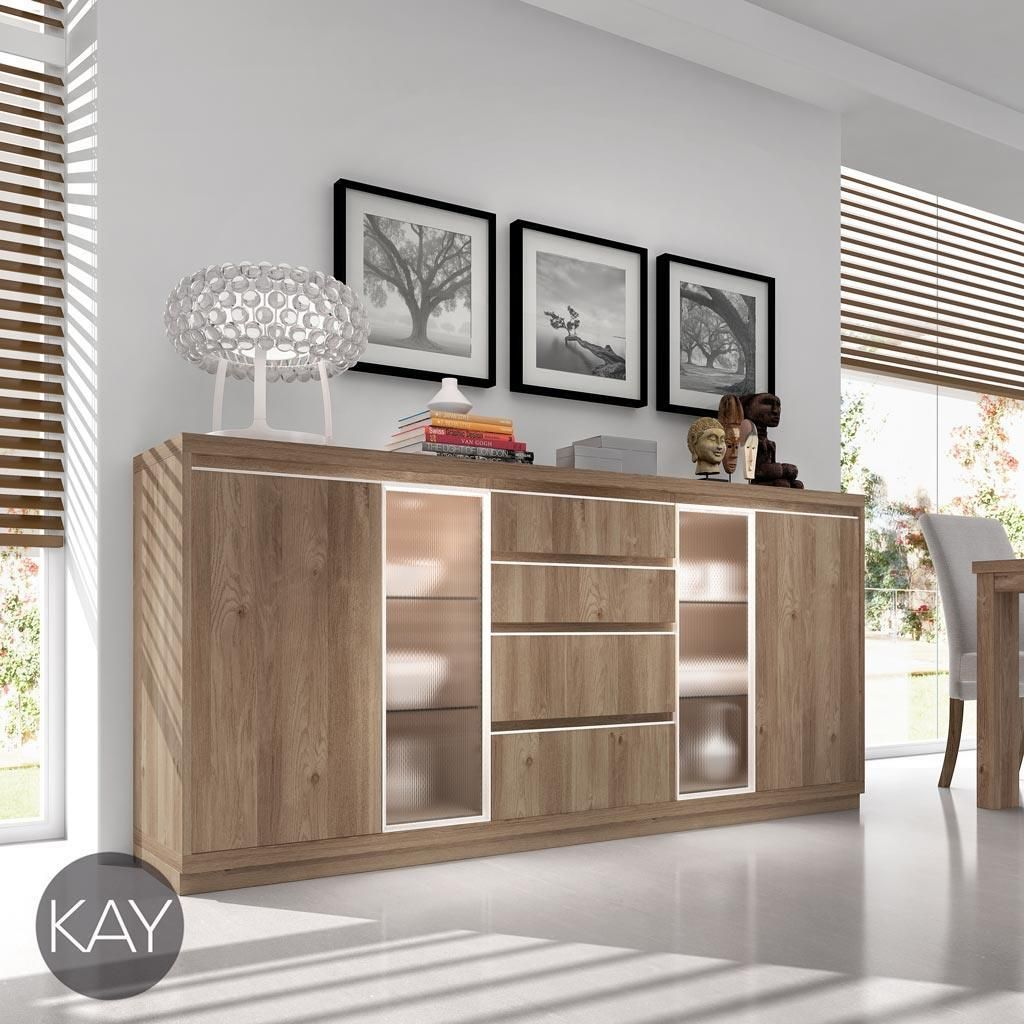 Buffet aparador color acacia con vitrinas y luz led del for Muebles paco caballero