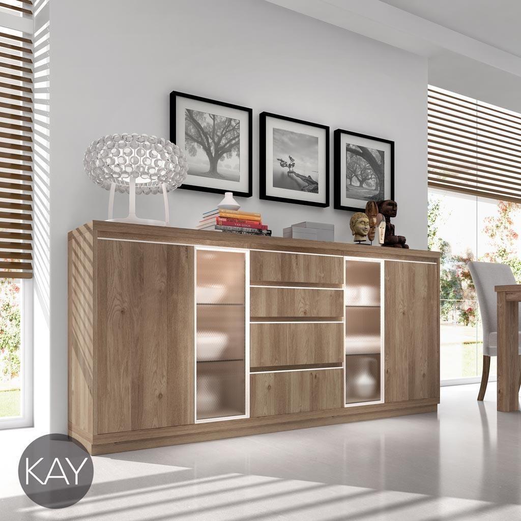 Buffet Aparador Color Acacia Con Vitrinas Y Luz Led Del Cat Logo  # Muebles Piferrer La Garriga