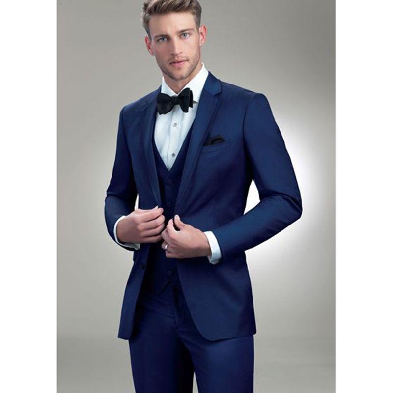 2017 Latest Coat Pant Designs Dark Blue Men Wedding Suits Groom Slim
