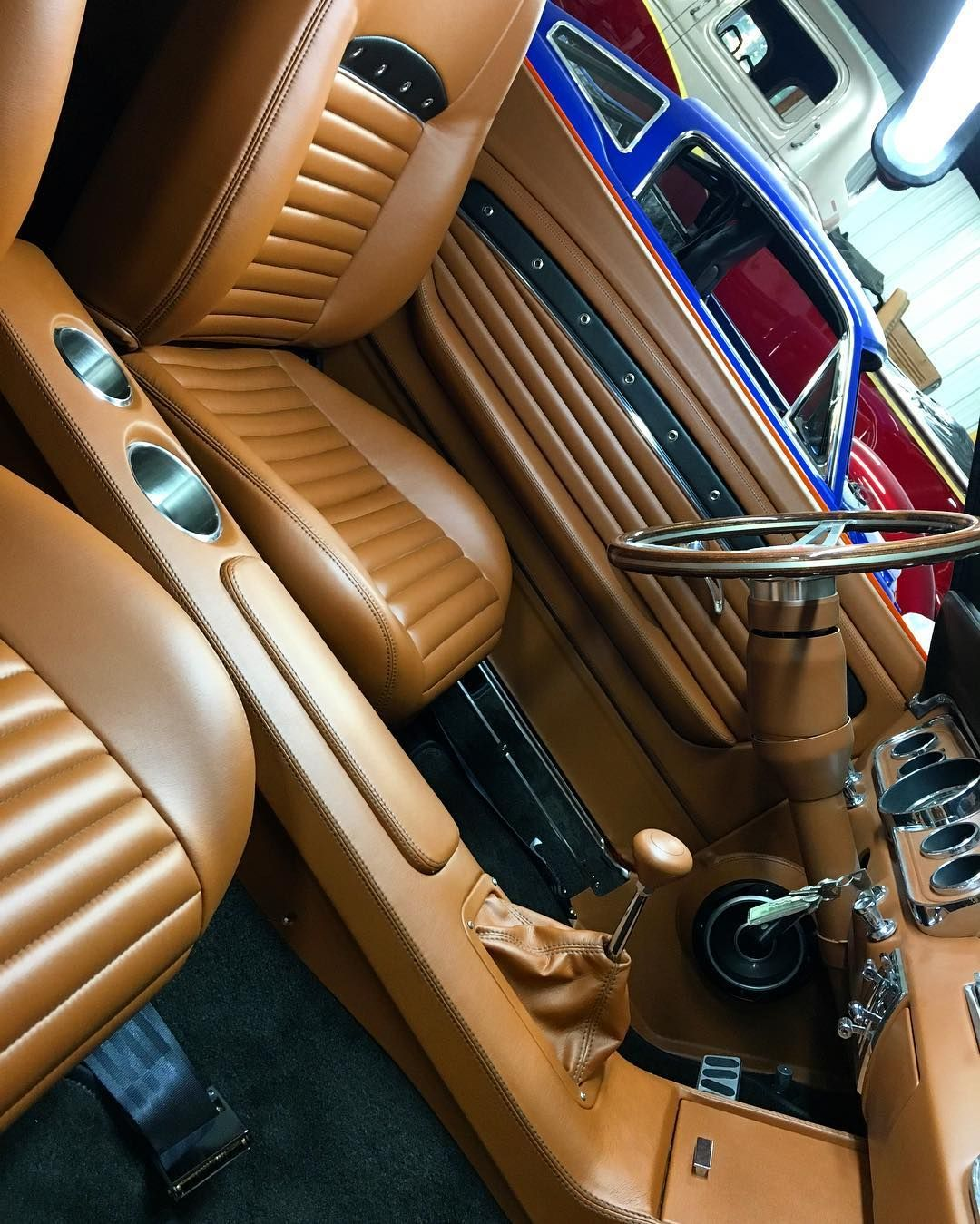 Car interior brown - 65 Mustang Fastback Car Interior Brown And Black Interior Custom Console And Door Panels Grommets
