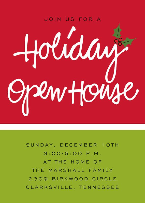 Holiday open house invitation Christmas Pinterest Open house