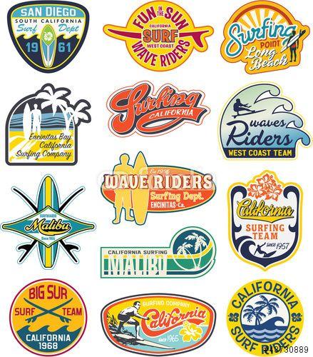 Vecteur : California vintage stickers collection   Logo de ...