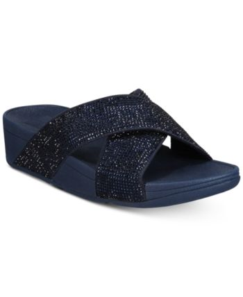 77ed735ca FitFlop Ritzy Slide Sandals - Blue 10M Blue Sandals