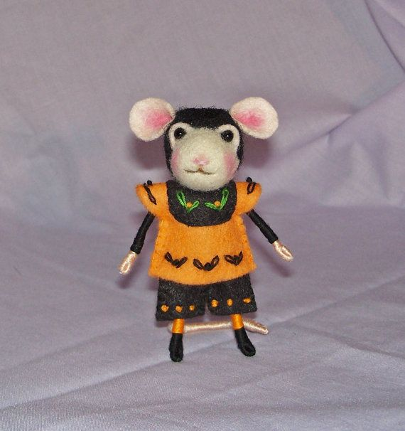 Needle Felted Mouse in Orange and Black  FREE by hhayescreations, $35.00