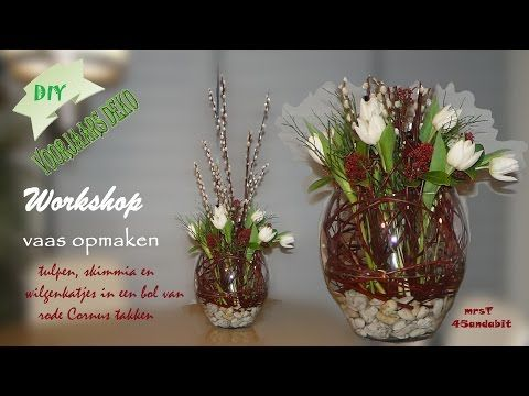 diy voorjaars bloemschikken tulpen in vaas fr hlings deko im glas flower arrangement in vase. Black Bedroom Furniture Sets. Home Design Ideas