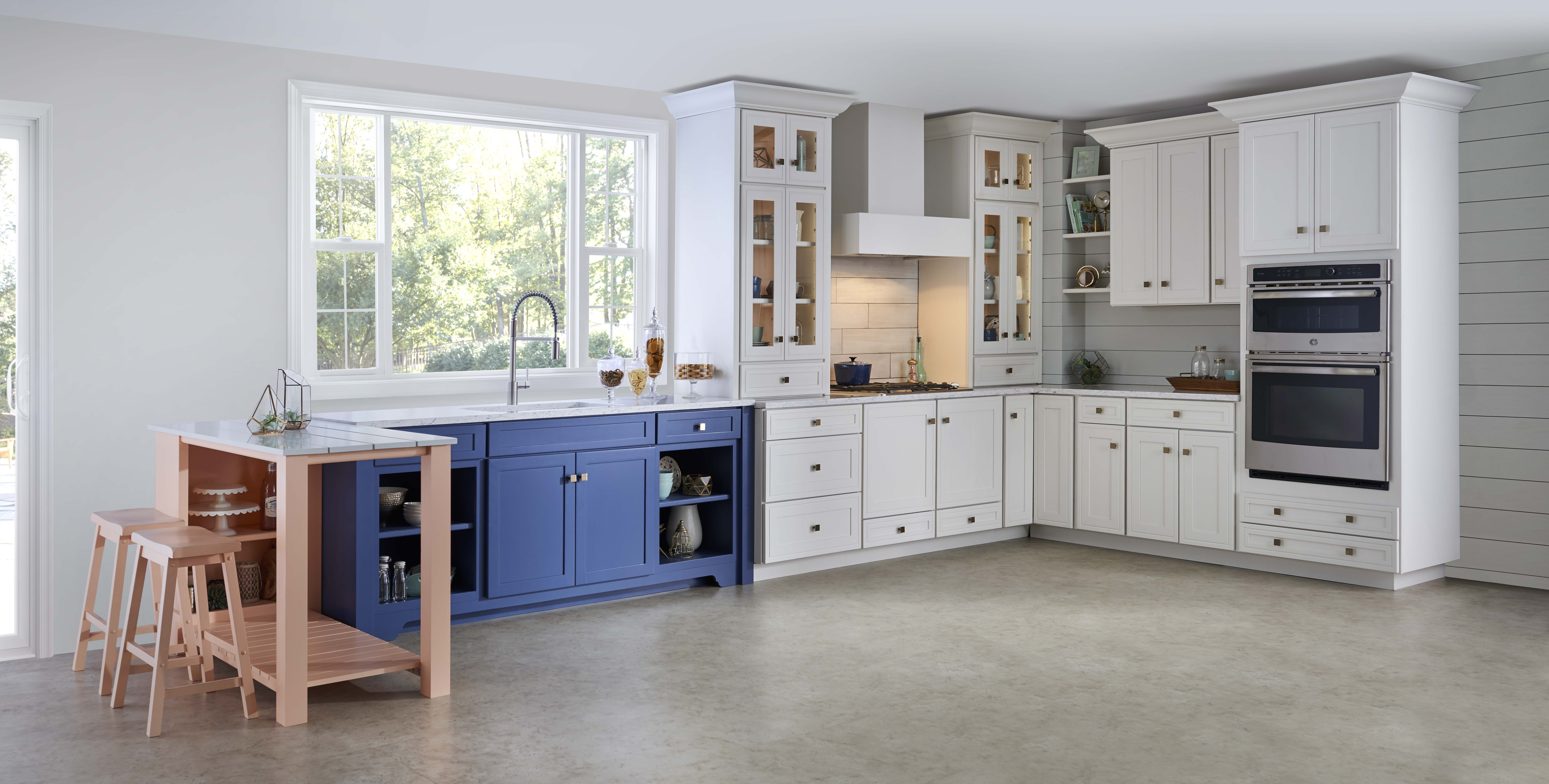 Use an accent color on a section of cabinets you want to for Kitchen cabinet section