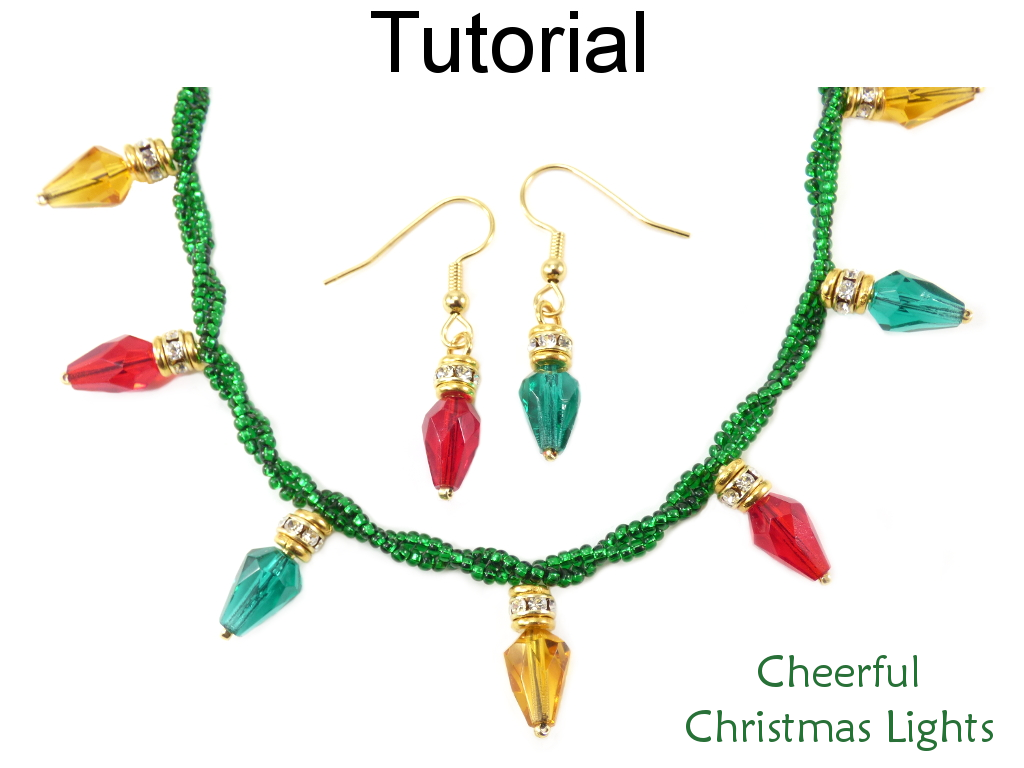 beaded christmas lights jewelry making holiday bracelet necklace earrings easy beginner tutorial pattern by simple bead