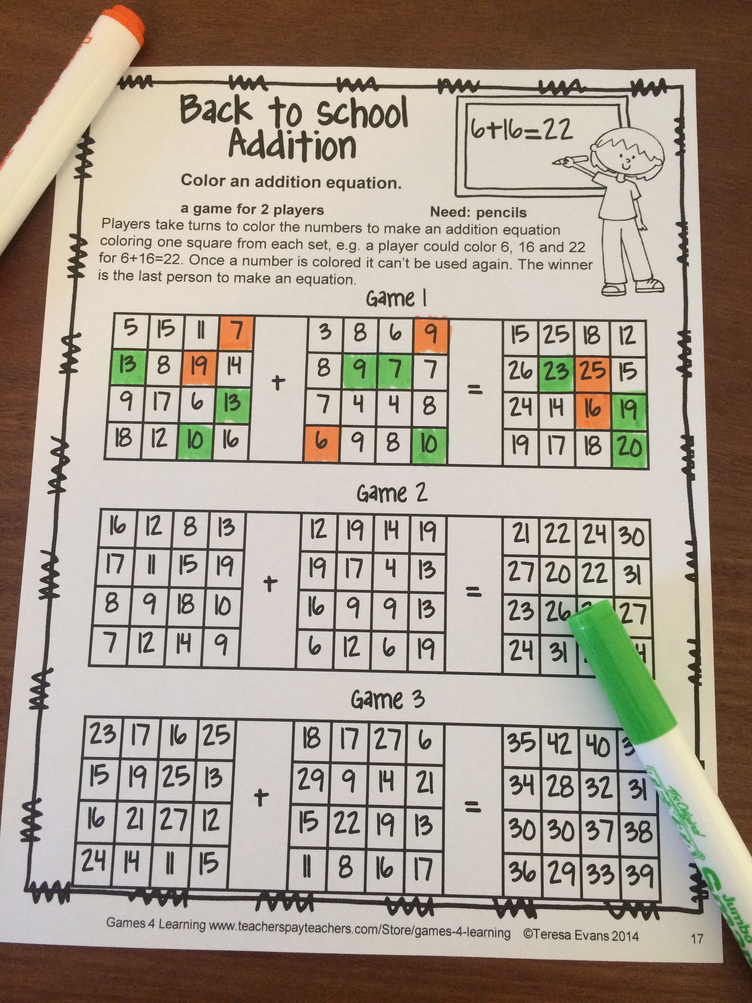Challenging Addition Game To Make Them Think No Prep Game Just Print And Play From Back To School Math Games 4th Grade Math Games Math School Math addition games grade