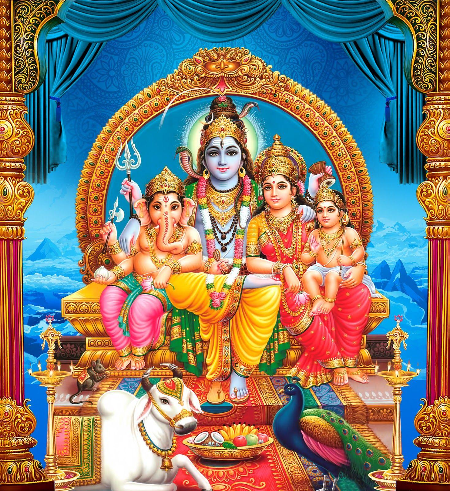 Lord shiva parvathi ganesha kartikeya sitting hd wallpaper ...