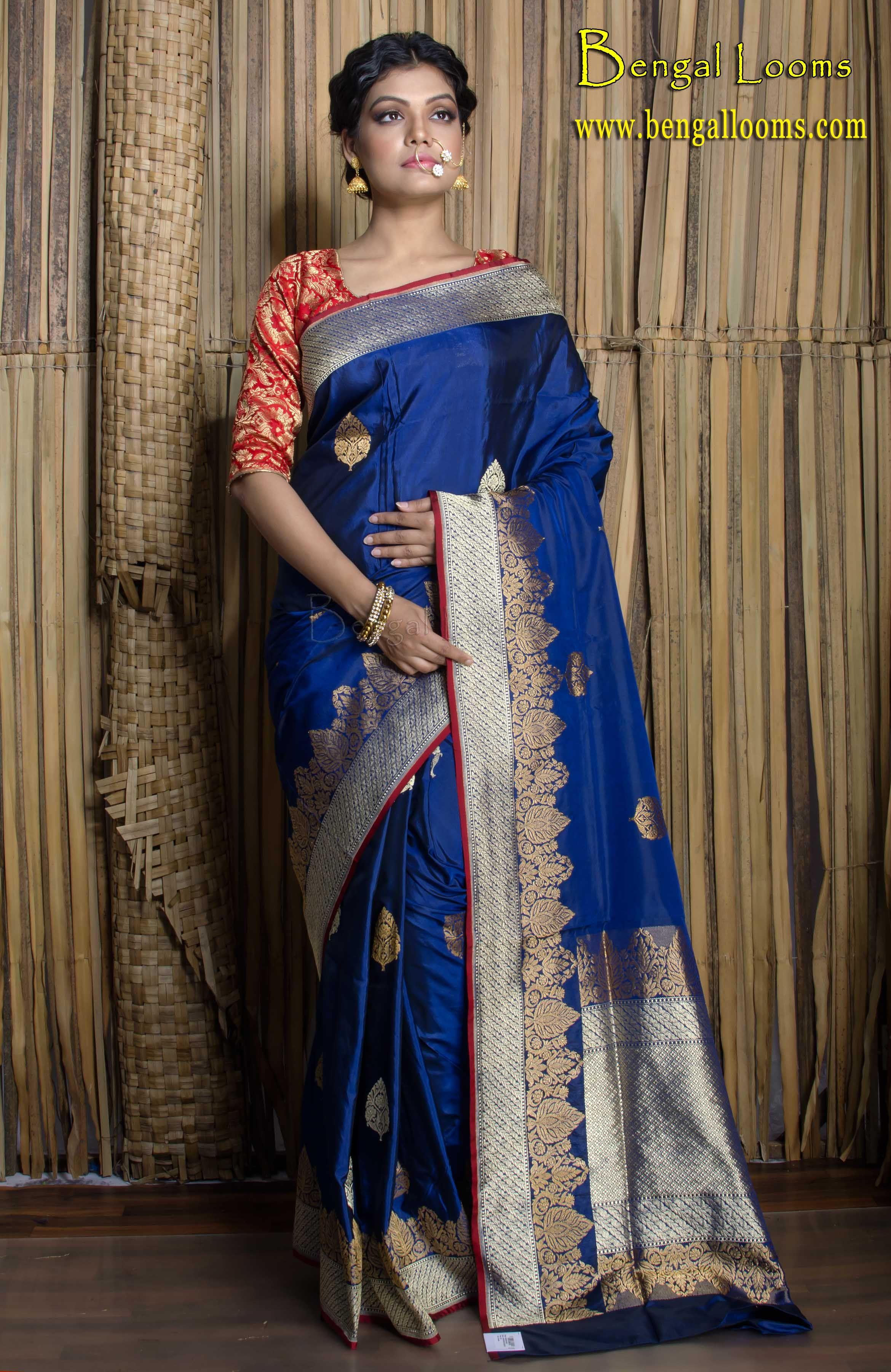 5019b8e812f9b Pure Katan Silk Banarasi Saree with Silver and Gold Thread in Royal Blue