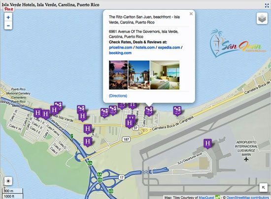 Easy To Use Full Map Of Hotels In Isla Verde Puerto Rico Guides