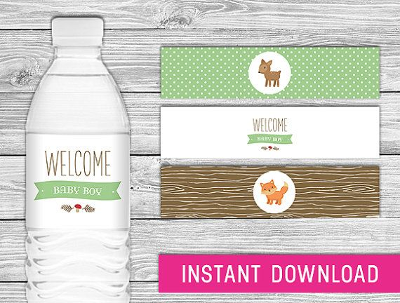 Printable Water Bottle Labels (Woodland baby shower decorations, forest printables, woodland party decor, woodland favors, fox, deer)