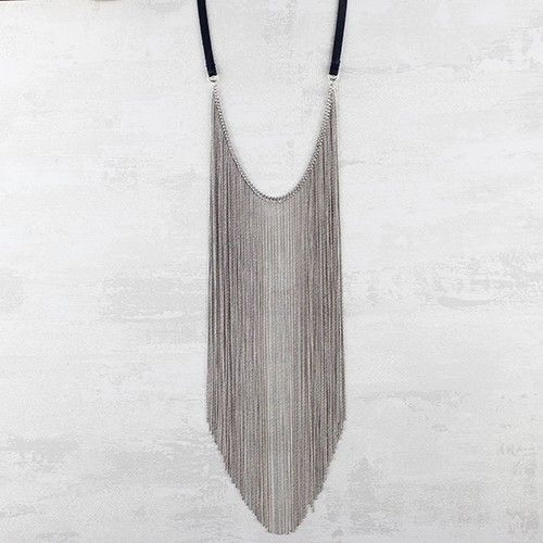 Grey Leather Long Necklace