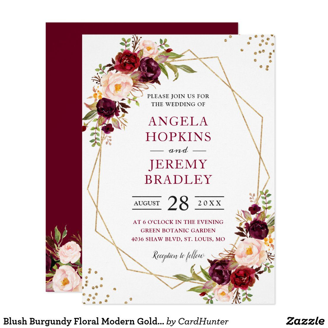 Blush Burgundy Floral Modern Gold Frame Wedding Invitation