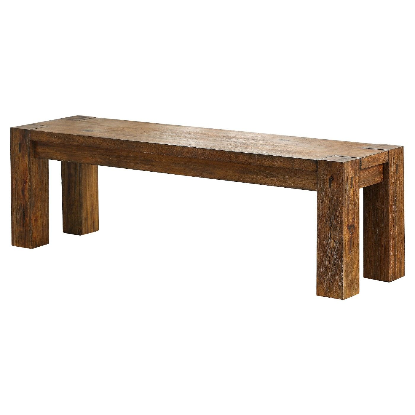 Sun Pine Sturdy Wooden Dining Bench Wood Dark Oak Image 1 Of 2