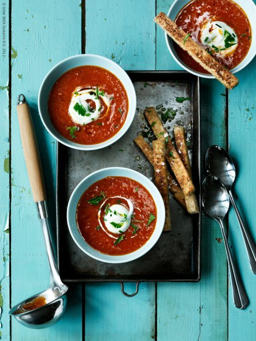 Tomato basil soup. Love the color combo and styling.