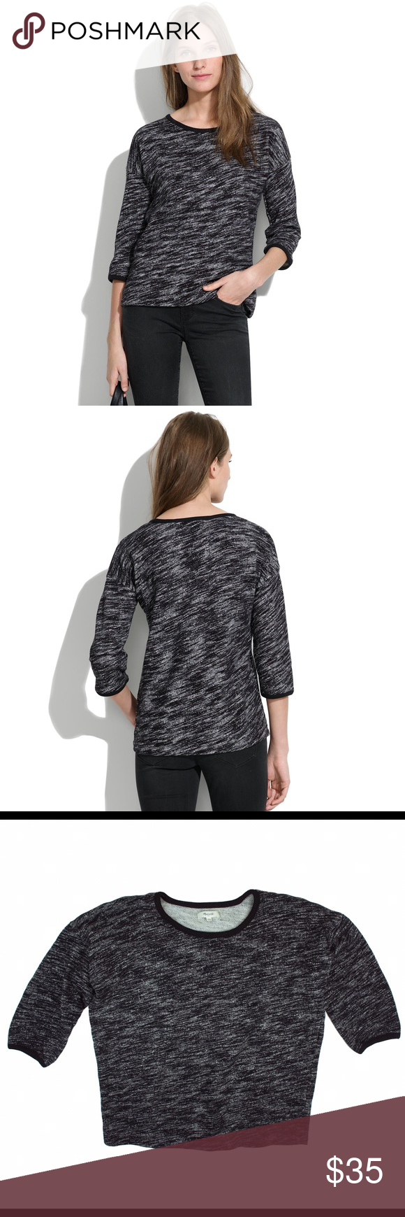 """MADEWELL Black Marled Shadetree Pullover Shirt Top Excellent condition! This black marled shadetree pullover from MADEWELL features a relaxed fit, crew neck and is made of a French terry cotton. 3/4 length sleeves. 100% cotton. Measures: bust: 44"""", total length: 24"""", sleeves: 16"""" Madewell Tops Sweatshirts & Hoodies"""