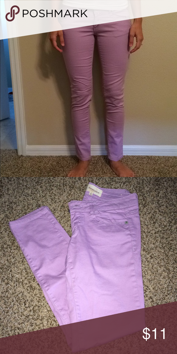 Purple skinny pants size 3 Like new light purple skinny pants, no stains, smoke free home. Great condition Rewind Pants Skinny
