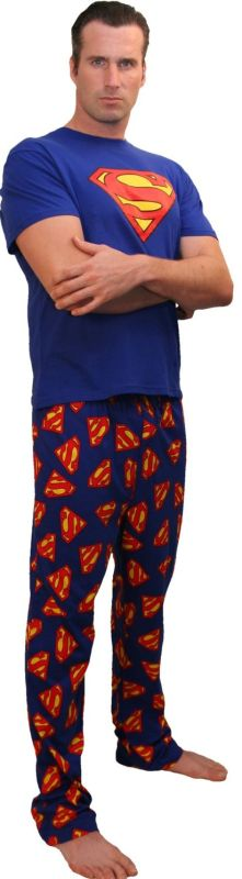 Classic Superman Pajamas for men. Every man will feel super in these pajamas.  The tops are 100% cotton knit and feature a large Superman  S  Logo against  a ... 5d165351f