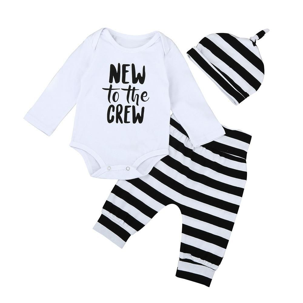 a425c38b9 3PCS Autumn Spring Newborn Baby Boys Girls Long Sleeve Letter Tops Romper+Striped  Long Pants Hat Outfits Set Christmas Clothes # #@bellannisa