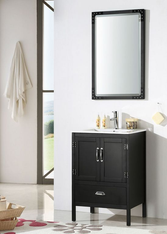 Abel 24 Inch Black Finish Contemporary Bathroom Vanity With