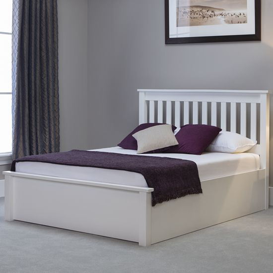 Model Of Sturdy and stylish white ottoman bed frame Features a high slatted headboard low foot Ideas - Elegant bed frames Contemporary