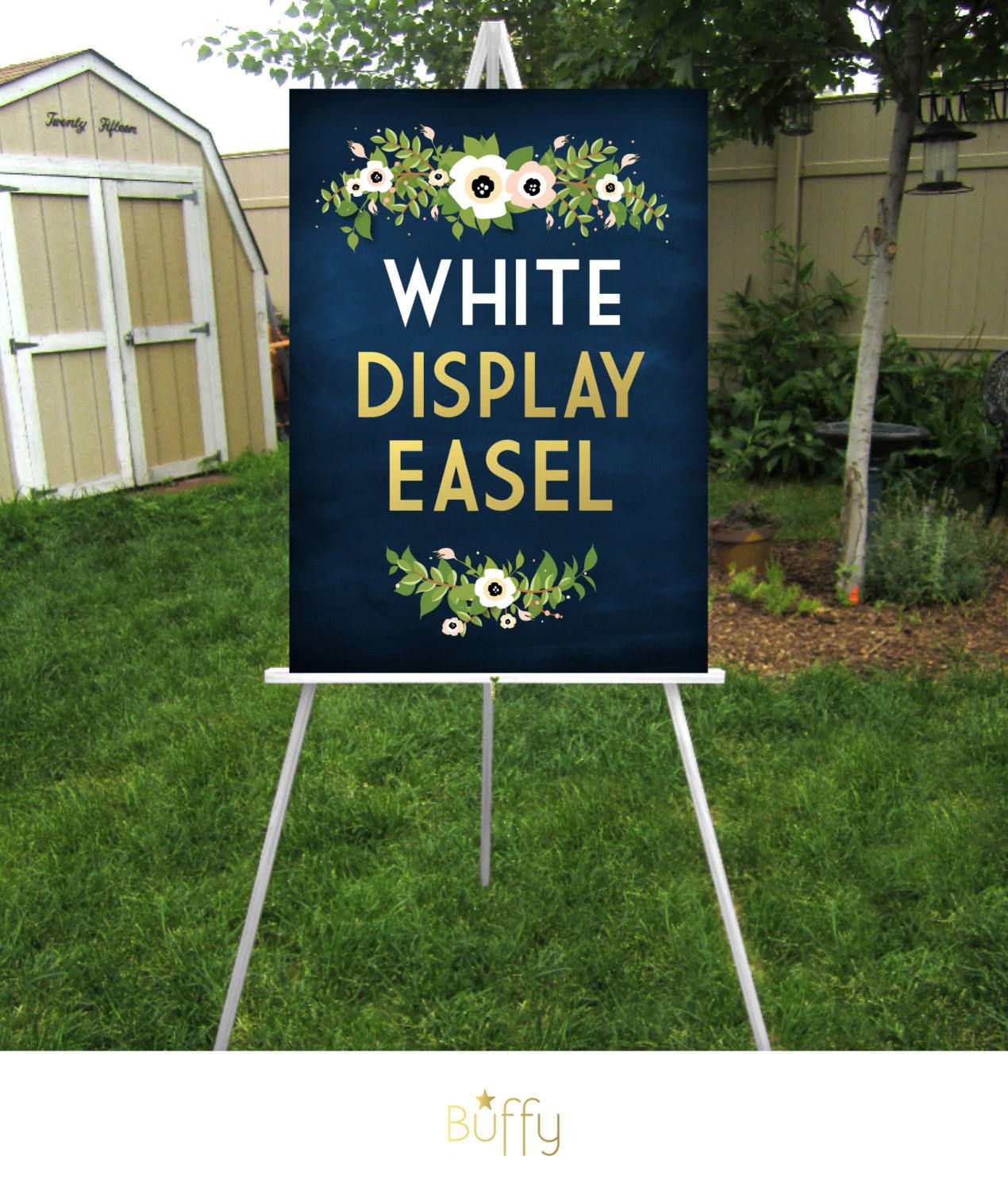 SILVER Easel . Large Wedding Sign Floor Stand Displays up