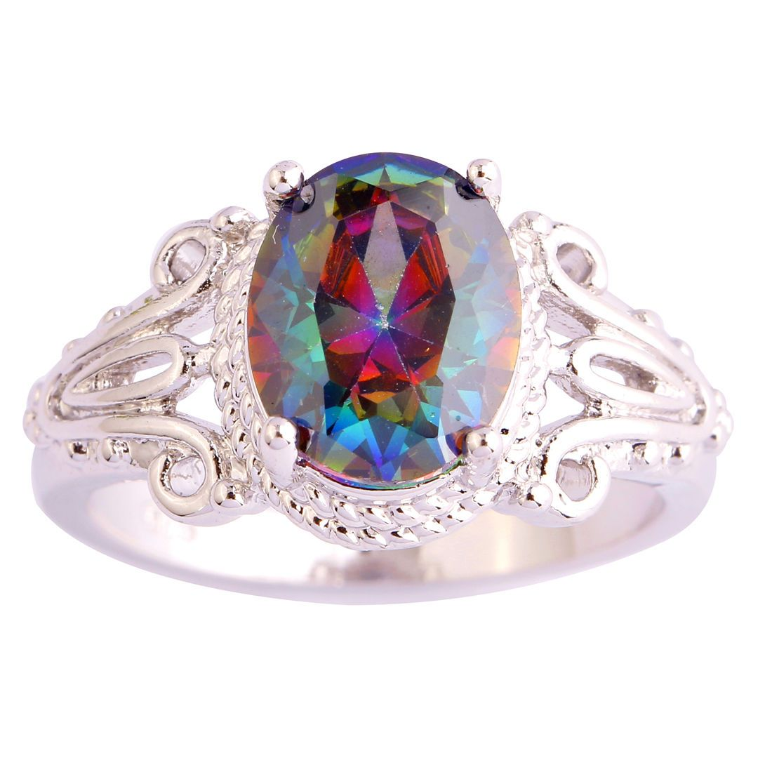 925 Sterling Silver Multicolor Rainbow Mystic Topaz Ring Size-7