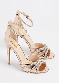 ae664383c4b Rose Gold Metallic Rhinestone Strappy Stiletto By Qupid | Shoes ...