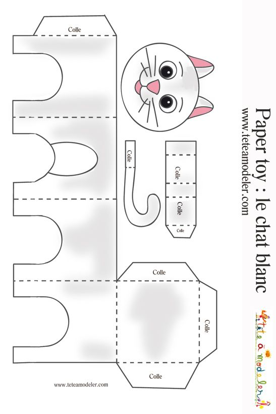 Mod le chat blanc imprimer sur t te modeler packaging animals chat bricolage papier - Tete de chat a colorier ...