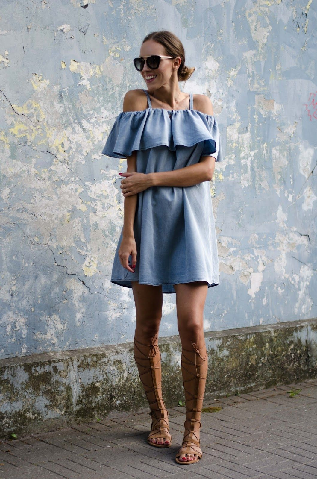 d3ea34146336 denim off shoulder dress outfit