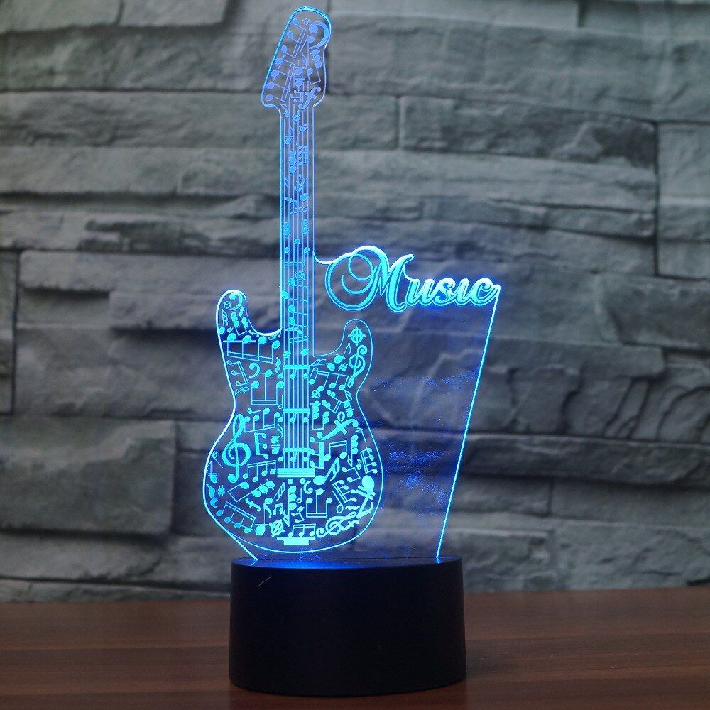 3d Glow Led Night Light Creative Guitar Inspiration 7 Colors Optical Illusion Lamp Touch Sensor Perfect For Color Optical Illusions Led Night Light Night Light