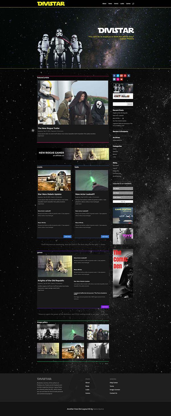 Free Divi Star Wars Layout Layout Star Wars Web Design