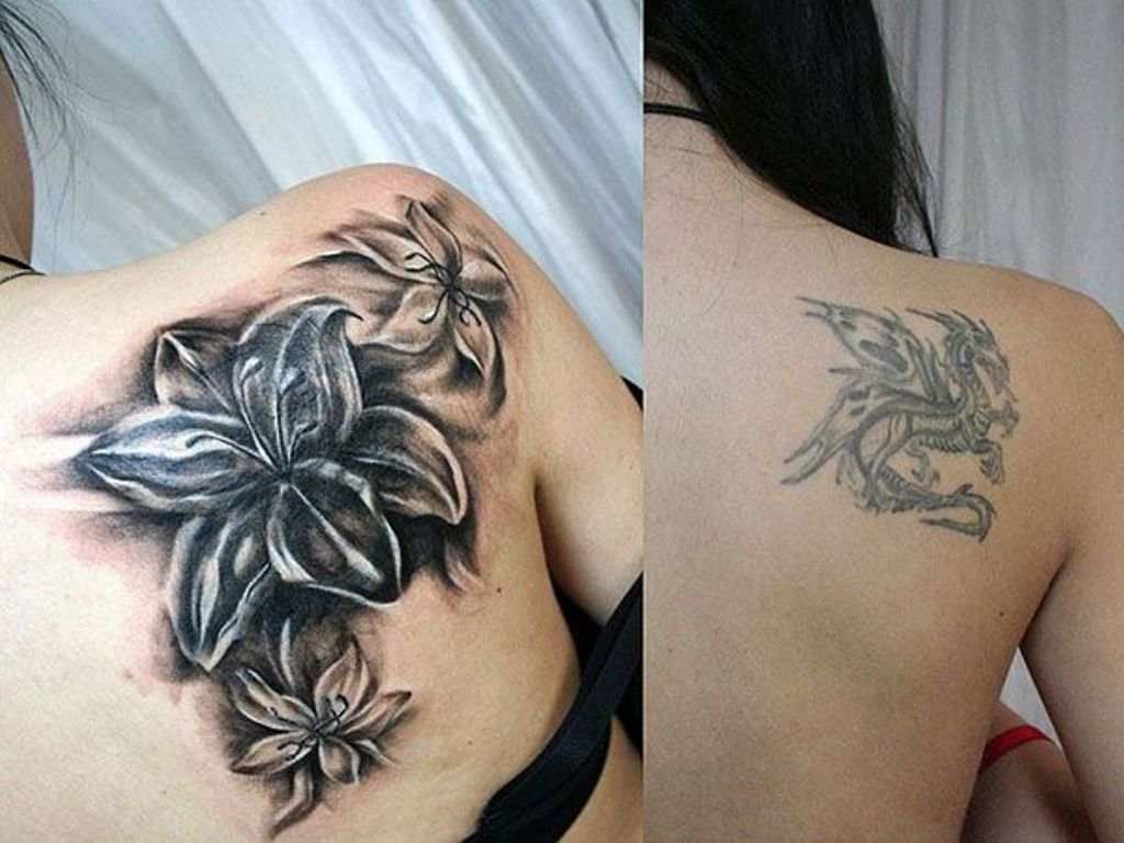 Black Lily Shoulder Cover Up Tattoo St 768