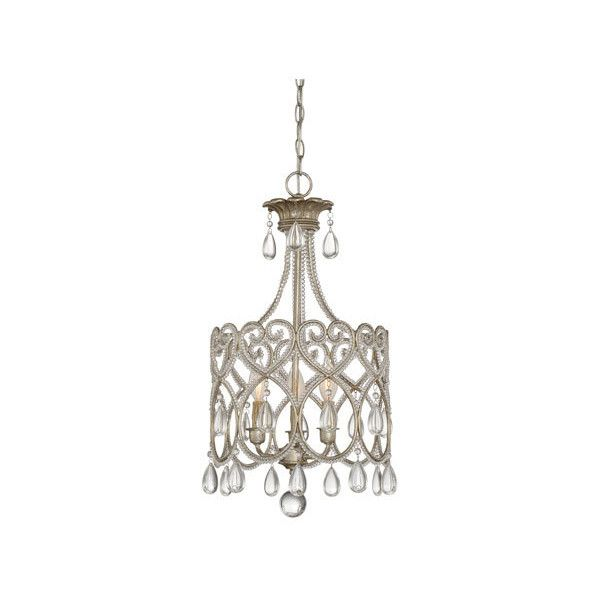 Savoy House Argentum Three-Light Mini Chandelier found on Polyvore featuring polyvore, home, lighting, ceiling lights, savoy house chandelier, mini lamp, mini lights, crystal ceiling lights and crystal light