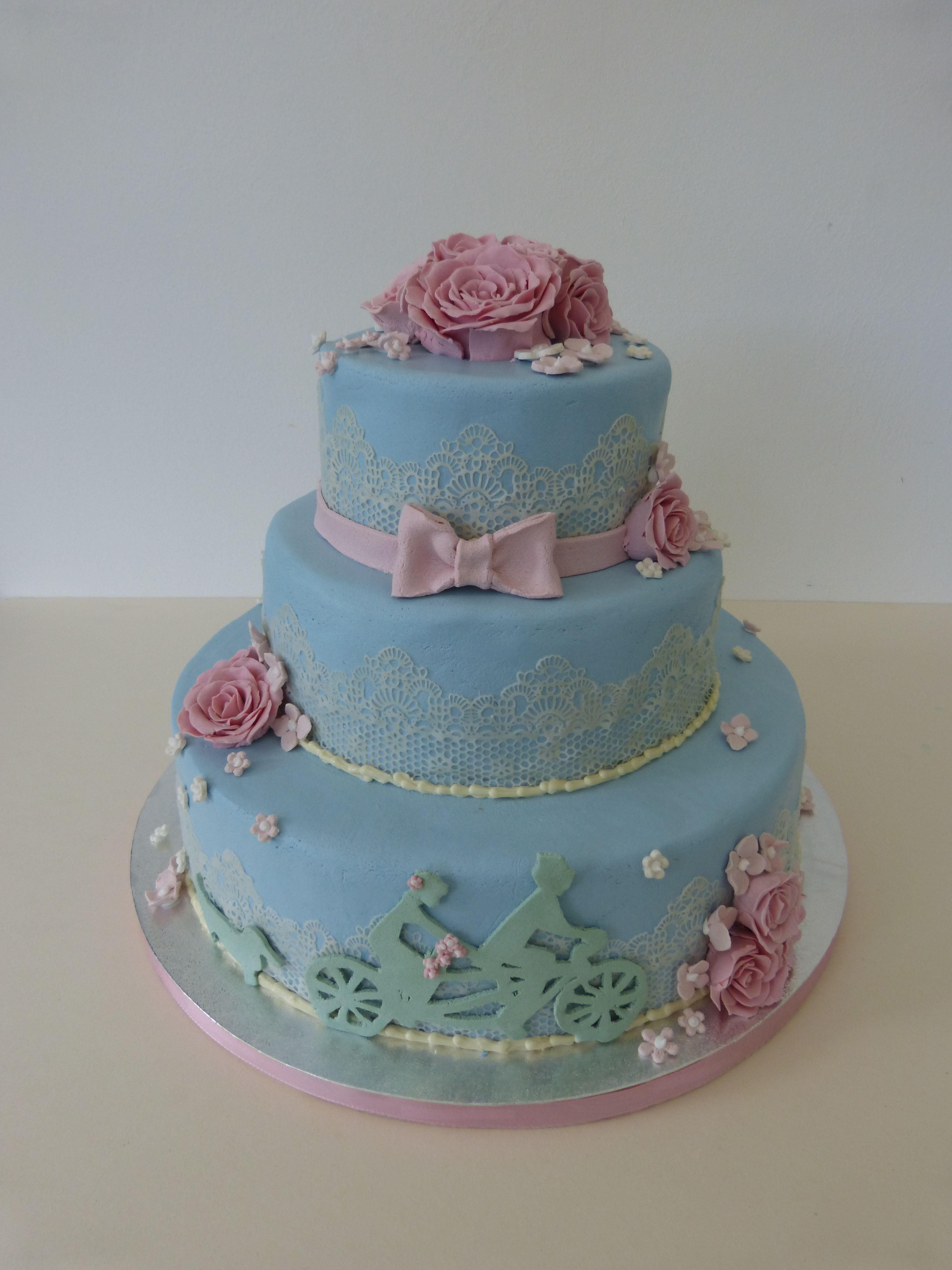 Wedding Cake Blue Hochzeitstorte Blau Fahrrad Rosen Rosa