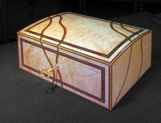 A Domed Top Jewellery Box 10 X 7 X 5 Veneered With Figured Maple And Decorated With Dyed Veneers Decorative Boxes Wooden Jewelry Boxes Small Wooden Boxes