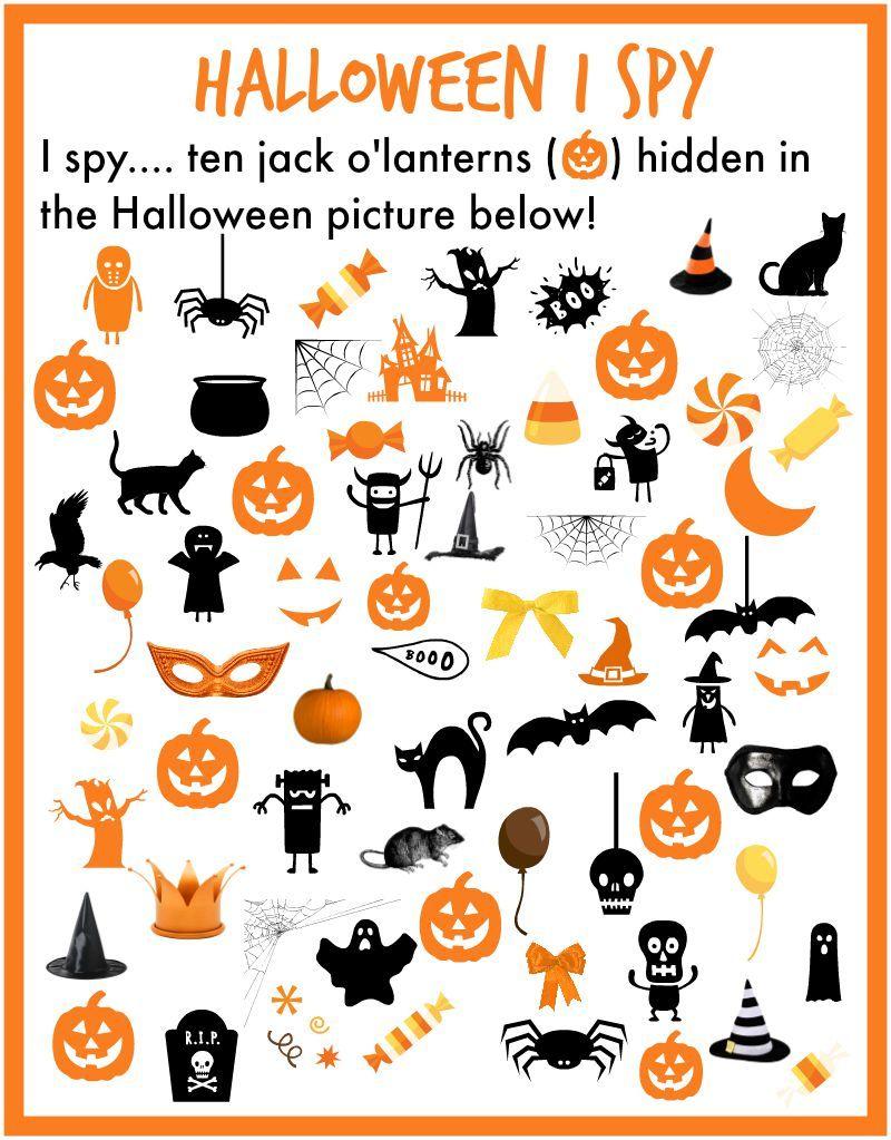 I Spy Halloween printable. Find 10 pumpkins hidden in the Halloween  picture! Free printable