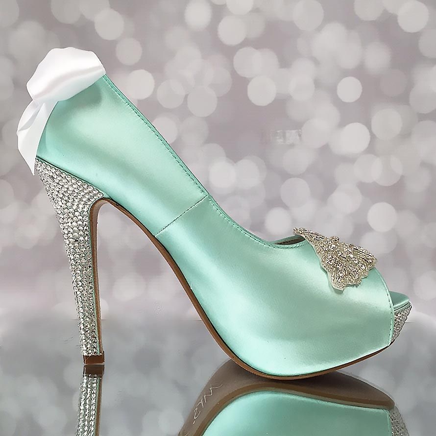 Aqua Blue Wedding Shoes Platform Peep Toe Bridal Heels Crystal Heel ...