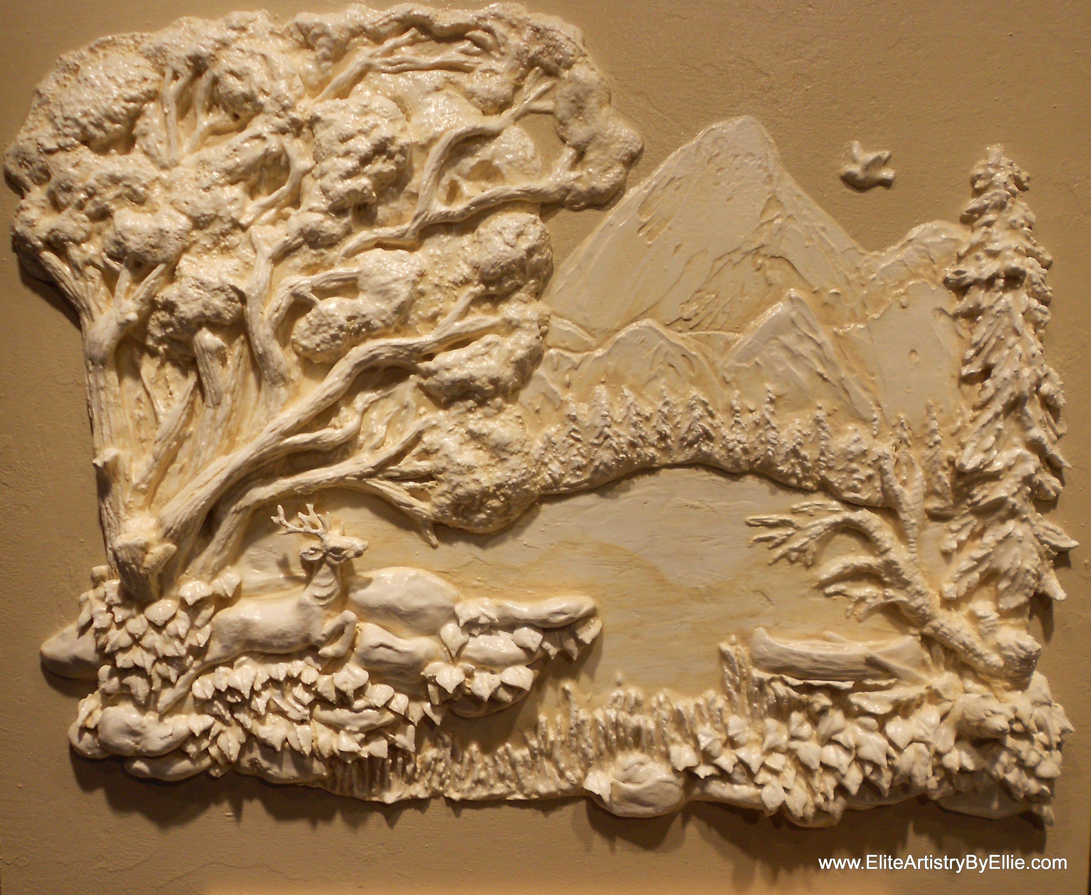 Sculpted Plaster Bas Relief Wall Mural By Artist Ellie Ellis Cms