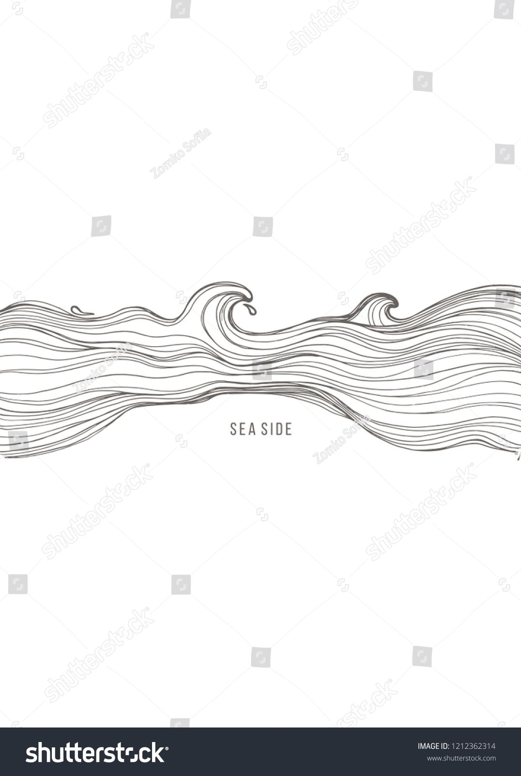 Sketch Waves Isolated On White Background Vector Album