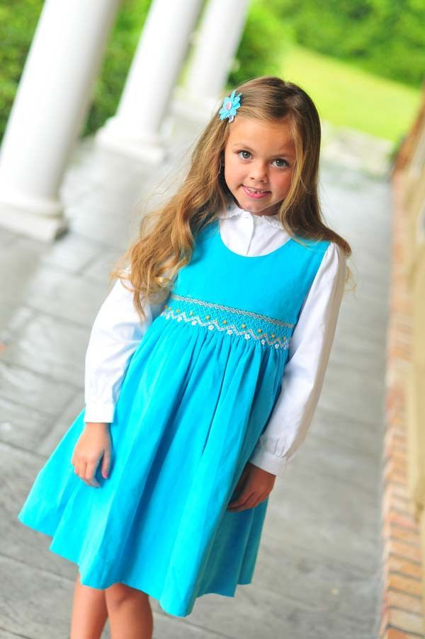 a4803f091 Girls Smocked Fall Winter Dress in Turquoise Corduroy and Long ...