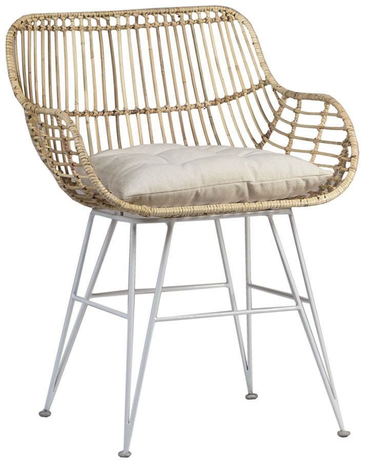 Set/ 2 Retro White Iron Rattan Dining Chair Garden~Pool Home Furniture,  31u0027u0027H | Rattan Dining Chairs
