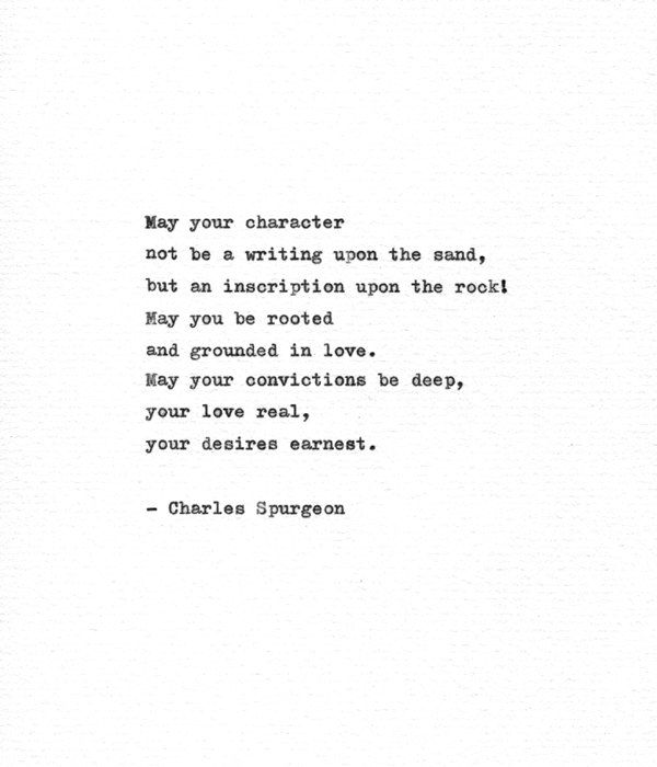 Charles Spurgeon Inspirational Quote 'An Inscription Upon the Rock' Hand Typed Print Devotional Quote Typewriter Print Character Quote
