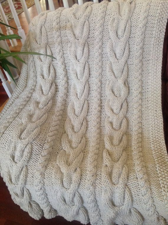 Ready-Made Knit Afghan---V CABLES in OFF WHITE | Acogedor, List y ...
