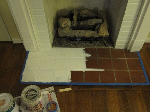 How To Paint A Fireplace Hearth Fireplace Hearth Tiles Paint Fireplace Fireplace Hearth